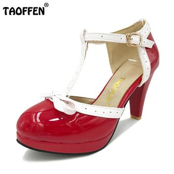 TAOFFEN Size 32-48 Women High Heel Sandals Round Toe Square Heels Shoes Women's Platform Sandals bow Wedding Shoes Footwear