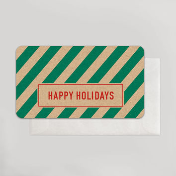 Happy Holidays Green Stripe Enclosure
