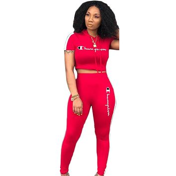 Champion Fashion Summer New  Letter Print Sports Leisure Two Piece Suit Hooded Top And Pants Women Red