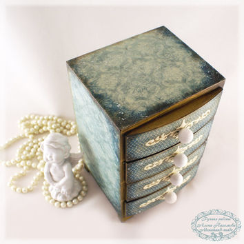 Shabby Dark Blue 2- vintage look Mini decoupage wooden chest drawers/made to order