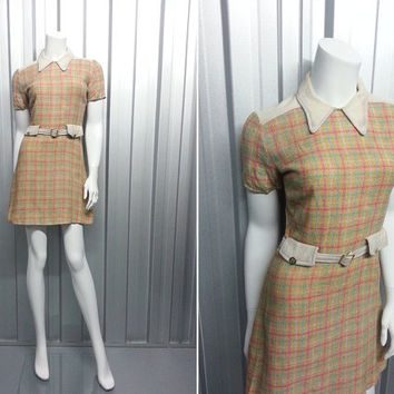 60s Penny Collar Mini Dress Plaid Pattern Harlequin Print Mod Scooter Dress Pink Shift Dress 1960s Clothing Mary Quant Style Twiggy Dress
