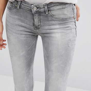 Mango Distressed Grey Skinny Jeans