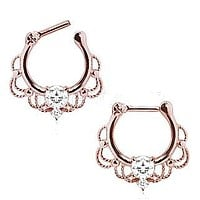 Rose Gold Plated 316L Stainless Steel Made For Royalty Ornate Septum Clicker