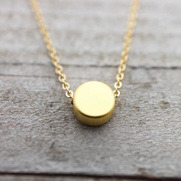 Tiny round dot gold necklace