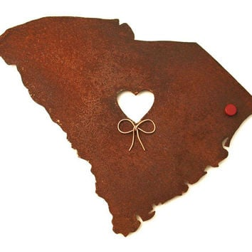 South Carolina State Map Metal Wall Art Sculpture - State Sculpture - State Silhouette - State Decor - Rustic - Rusty