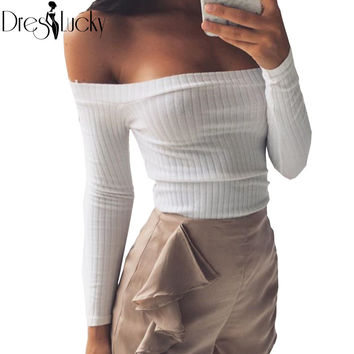 Fashion sexy off shoulder t shirt white slim knitted crop top casual autumn 2017 t-shirts for women slash neck long sleeve shirt