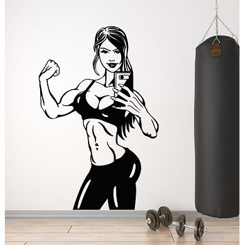 Vinyl Wall Decal Fitness Body Girl Sport Gym Phone Stickers Mural (g194)