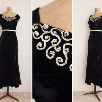1940s Dress - Vintage 40s Black Silk Velvet Gown - Night Moves Dress