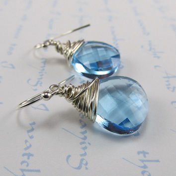 Aquamarine Blue Earrings Briolette Wire by beadedembellishments