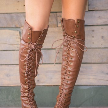 Baltimore Over The Knee Lace Up Boots (Tan)