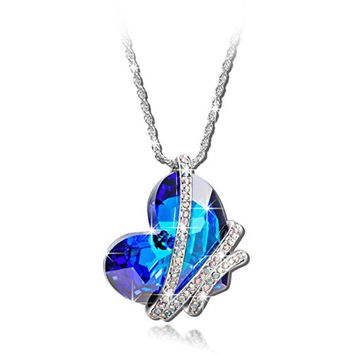 "Deal of the Day ""Heart of the Ocean"" Blue Swarovski Elements Crystal Heart Shape Pendant Necklace Jewelry - Environmental Friendly.2016 Latest Heart Shape Design,Mothers Day Gift Choice.Huge Bermuda Blue Heart Crystazl,Symbol of Love"