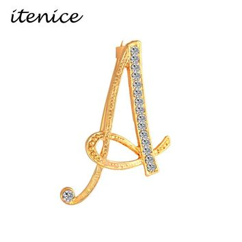 Itenice 2017 New Fashion Jewelry Classic 26 Letters Brooches Metal Gold Color Crystal Pins Clothing Accessories For Women