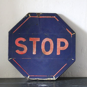 RARE  Enamel French Sign Road Sign Transport Sign Hexagaonal Stop Sign