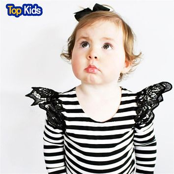 Lovely Cozy Baby Girl Tops Kids lace shirt Children Soft Cotton Fall stripe Shirt Tee toddler girls autumn clothing