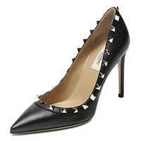 Wiberlux Valentino Women's Rockstud Detailed Pointed Toe Real Leather Pumps