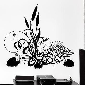 Wall Sticker Lotus Floral Flower Reed Meditation Zen Vinyl Decal Unique Gift (z2949)