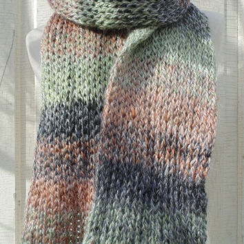Ombre Stripes Pastel Knit Scarf, Alpaca Wool Blend, Charcoal Gray, Linen, Coral, Mint, Knit Scarf, Winter Fashion Knitwear, Womens Scarves