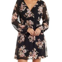 Black Combo Empire Waist Floral Chiffon Dress by Charlotte Russe