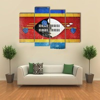 Swaziland Grunge Flag Multi Panel Canvas Wall Art