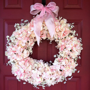 Hydrangea Wreath with Baby's Breath - Spring Wreath - Summer Wreath - Bridal Wreath - Wedding Wreath