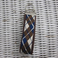 Argyle Brown, blue & cream key fob, keychain, wristlet