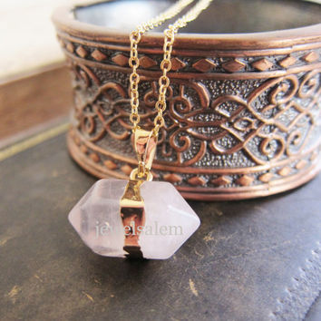 Rose Quartz Necklace Pink Crystal Gemstone Gold Long Layered Chain Nugget Hexagon Geometric Raw Mineral Stone Pendant Rock Natural Mineral