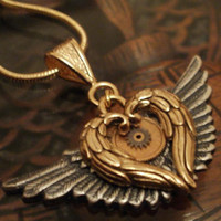 My Golden Clockwork Heart Necklace with Silver Wings by punqd