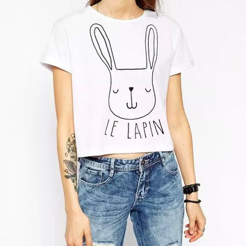 Cartoon Print Short Sleeve Hanging Crop Tee Shirt
