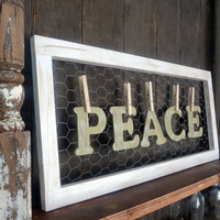 Rustic Wooden Letter Peace Sign
