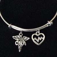 CNA Nurse Assistant Adjustable Expandable Silver Plated Bangle Bracelet One Size Fits Most Medical Occupational Charm Bracelet