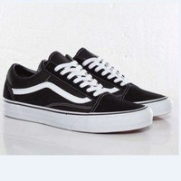 Vans Old School Classics Casual Canvas Flats Sneakers Sport Shoes white lace up Black