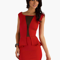 Sleeveless with Cut-Out Mesh Peplum Bodycon Mini Dress