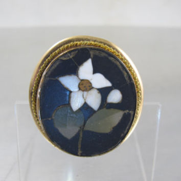 Victorian Pietra Dura Pendant Brooch, Mosaic White Lily Flowers Green Leaves, Antique Grand Tour Gold Filled Micro Mosaic Jewelry
