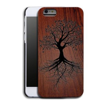 Vitality Tree Roots Luxury Carved Wood Hard Wooden Protector Back Case Cover for Apple iPhone 5s/SE/6/6 plus&Samsung Galaxy S6/S