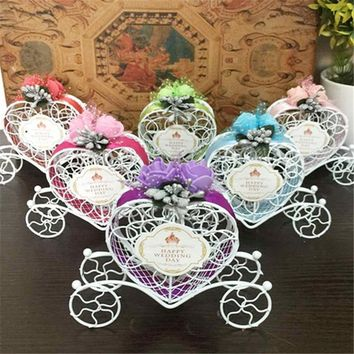 Romantic 1PC Wedding Decoration European Creative Iron Heart Shape Pumpkin Carriage Wedding Candy Box Favor and Gifts Supplies,8