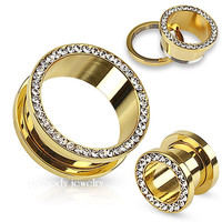 2 pieces gem plugs stainless steel gold screw