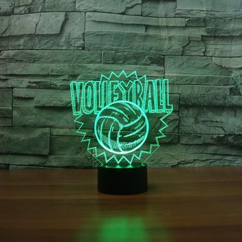 Volleyball 3D LED Night Light Lamp
