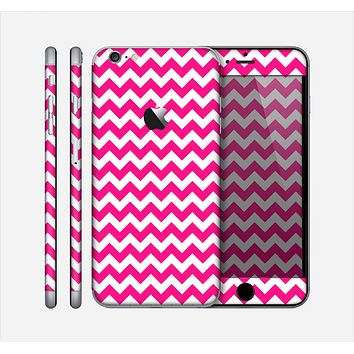 The Pink & White Chevron Pattern Skin for the Apple iPhone 6 Plus