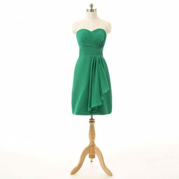 Green A line Knee length Chiffon Special occasion Knee length Short Cocktail Party dresses