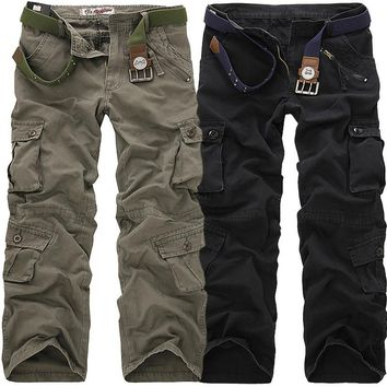 New 2017 Hot Selling Men's Cargo Military Pants Casual Mens Pant Multi Pocket Overall Men Outdoors High Quality Long Trousers