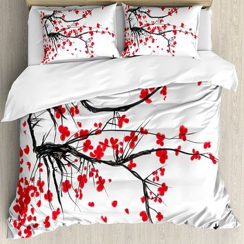4PC Sakura Blossom Japanese Cherry Tree Duvet Cover Sets