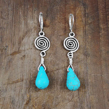TURQUOISE EARRINGS - Stylish Jewelry, Pierced Earrings, Contemporary, Animal Rescue, Gifts Under 25 Dollars, Long Earrings, Nickel Free