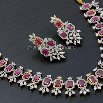 Contemporary Ruby CZ Necklace