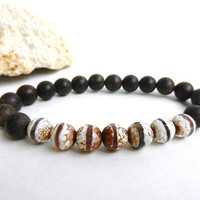 Male bracelet Dzi and wooden beads bracelet mens bracelet meditation mala beads bracelet tibetan dzi wooden beads male jewelry