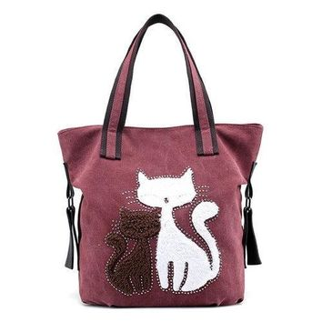 Women Canvas Fox Sewing Handbag Cute Animal Pattern Tote Bag For Women