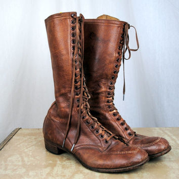 Vintage Mid Century Victorian Inspired Steampunk Lace Up Tall Boots - size 6/12