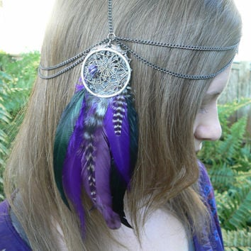 dreamcatcher feather head chain headdress head piece Turquoise dreamcatcher halo in tribal Native American boho gypsy hippie hipster style