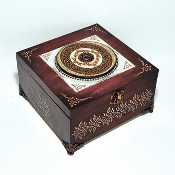 Big Hand Decorated  Box, Antique Jewelry Box, Distressed Maroon Box, Trinket Box, bordeaux cigar box, hand painted box