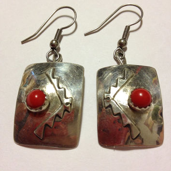 Yazzie Red Coral Earrings Navajo Petit Point Sterling Silver 925 DDY Etched Vintage Tribal Southwestern Native American Indian USA Jewelry