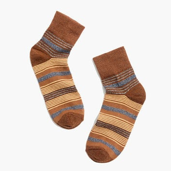 Metallic Stripe Ankle Socks